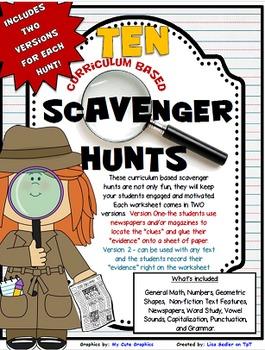 Scavenger Hunts - TEN Curriculum-Based Math and ELA