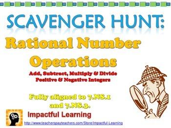 Scavenger Hunt: Mixed Integer Operations - 7.NS.1 & 7.NS.3