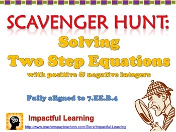 Scavenger Hunt: Two Step Equations with Positive & Negativ