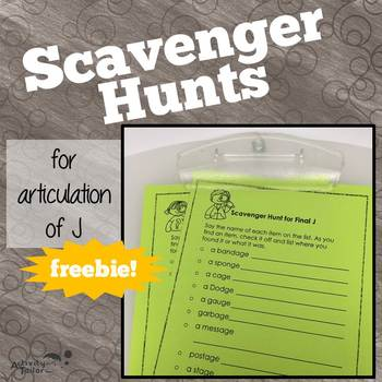 Scavenger Hunts for Articulation of J FREEBIE