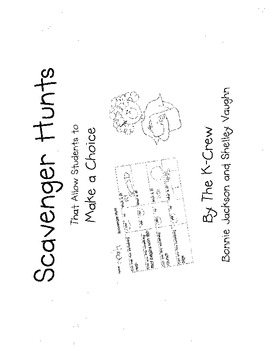Scavenger Hunts that Allow Students to Make a Choice Book