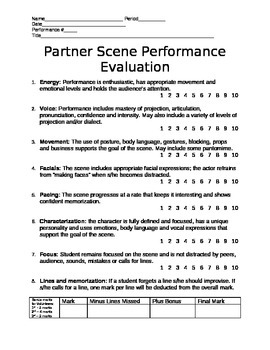 Scene Performance Rubric
