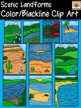 Scenic Landforms Clip Art Collection- Color/Blackline-Comm