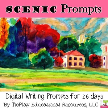 Scenic Watercolor and Oil Paintings Writing Prompts for ELA