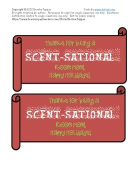 Scent-Sational Holiday Room Mom Tags