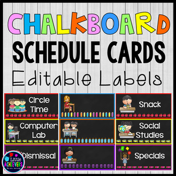 Editable Labels Schedule Cards (Chalkboard-Themed)