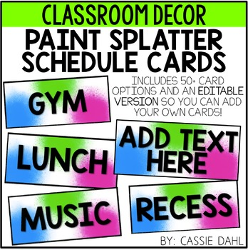 Schedule Cards- Paint Splattered