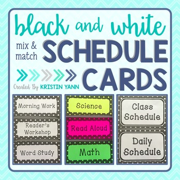 Schedule Cards - Black and White