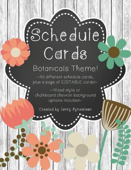Schedule Cards! Botanicals Theme! 45 Different Cards, Plus