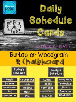 Schedule Cards {Burlap or Wood & Chalkboard}