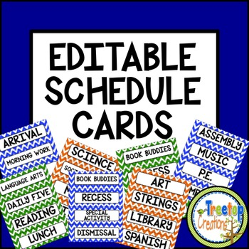 Editable Schedule Cards Chevron