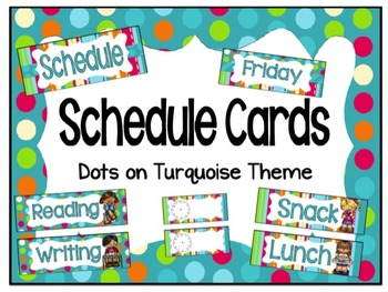 Schedule Cards - Dots on Turquoise theme!
