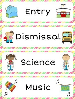 Schedule Cards / Classroom Timetable Labels (48 labels + 4