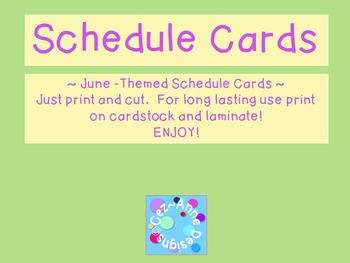 Labels - Schedule Cards ~ June Theme
