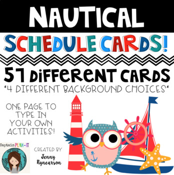 Schedule Cards! Nautical Theme! 45 Different Cards, Plus O