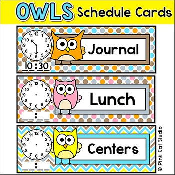 Schedule Cards - Owl Theme Classroom