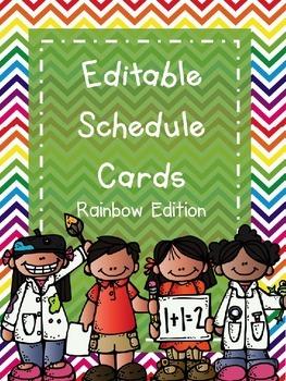 Schedule Cards -  Rainbow Edition (Editable)