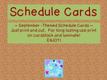 Back to School Ready! Schedule Cards ~ September Theme
