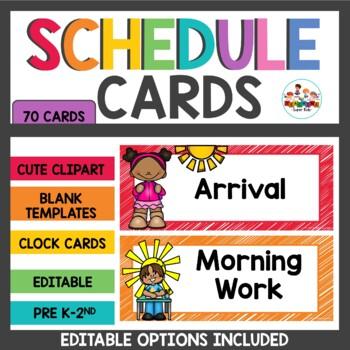 Class Schedule Cards Rainbow Theme