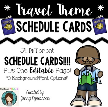 Schedule Cards! Travel Theme! 54 Different Cards, Plus One