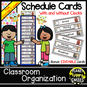 Schedule Cards with Clocks and EDITABLE slide ~ Owl Theme