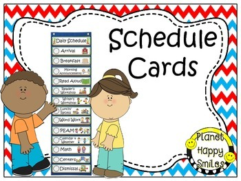 Schedule Cards with Clocks ~ Red, White & Blue Chevron