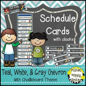 Schedule Cards with Clocks, Teal and Chalkboard Theme + ED