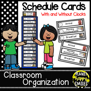 Schedule Cards with Clocks~Black & White Polka Dots with (