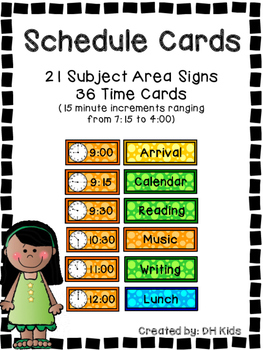 Schedule - Daily Schedule Cards - Subject areas and clock