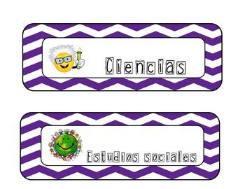 Purple chevron Schedule cards in spanish