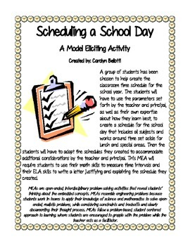 Scheduling a School Day MEA (Model Eliciting Activity)