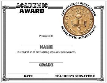 Scholastic Award - CERTIFICATE TEMPLATE
