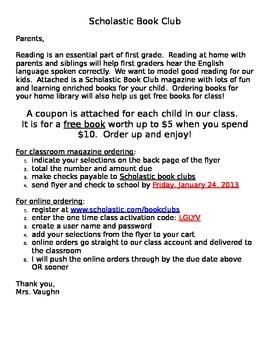Scholastic Book Club letter to parents