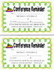 School Animal Themed Parent Conference Reminders, Posters,