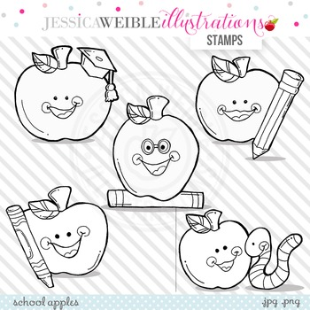 School Apples Cute Digital B&W Stamps, Apples Line Art, Bl