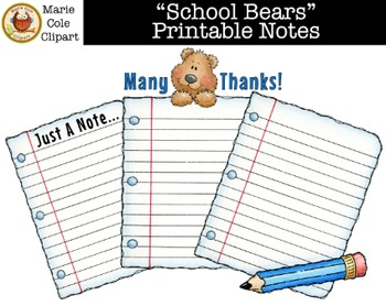 """""""School Bears"""" Notes Printables [Marie Cole Clipart]"""