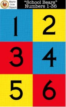 """School Bears"" Numbers 1 - 36 Printables [Marie Cole Clipart]"