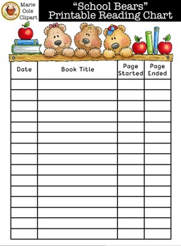 """""""School Bears"""" Reading Chart Printables [Marie Cole Clipart]"""