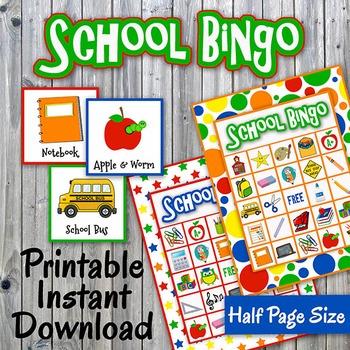 Back to School Bingo Cards and Memory Game - Printable - U