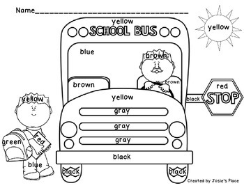 Color Word Recognition  and Bus Coloring Sheets