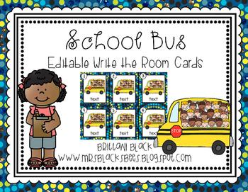 School Bus~ Editable Write the Room