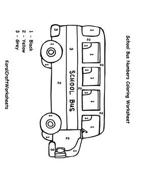 School Bus Numbers Coloring Worksheet