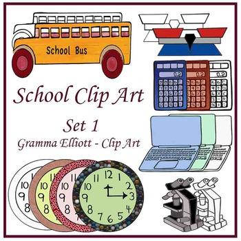 Clip Art - School Supplies - Balance Calculator Computer B