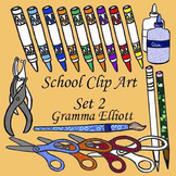 Clip Art - School Supplies Set 2 - Realistic - Color and B