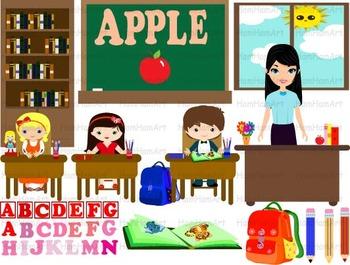 School Clip Art teacher alphabet teachers desk chair sun p