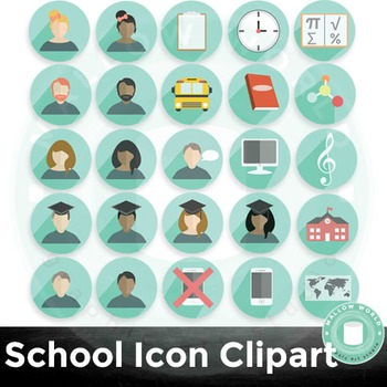 School Icons Infographic Clip Art