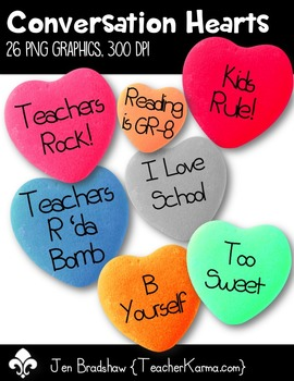 School Conversation Hearts Clip Art ~ Valentine's Day Grap