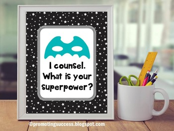 School Counseling Black White Stars Superpower Poster Offi