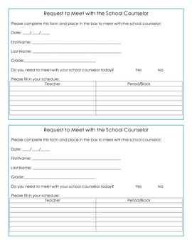 School Counseling Self Referral Request Forms- Secondary E