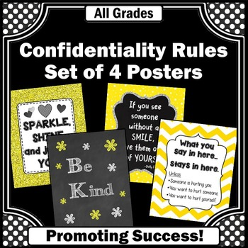 Confidentiality Rules & Motivational Quotes Set of 4 Print